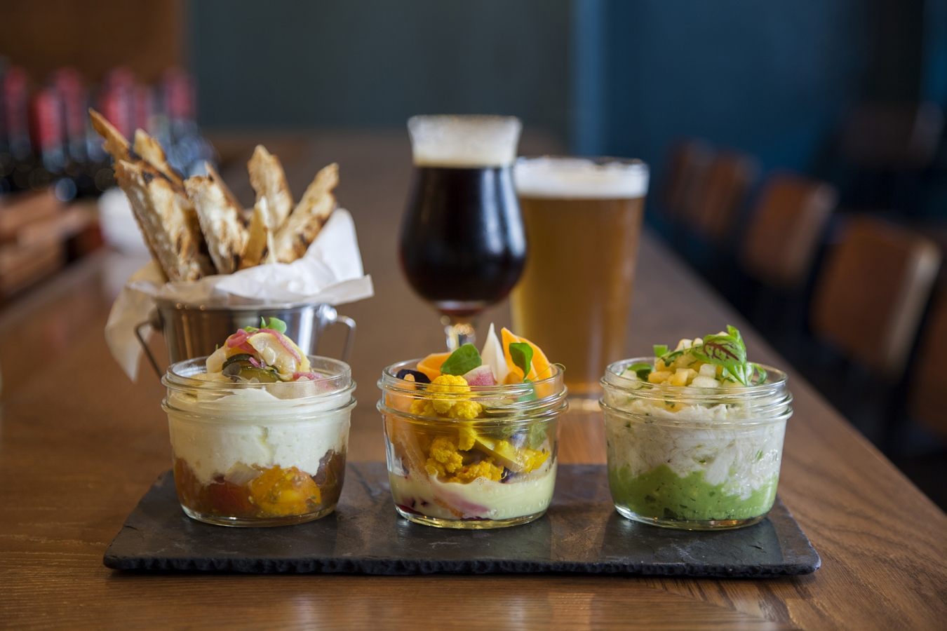 Hummus trio, fried Epic Pickles and craft beer